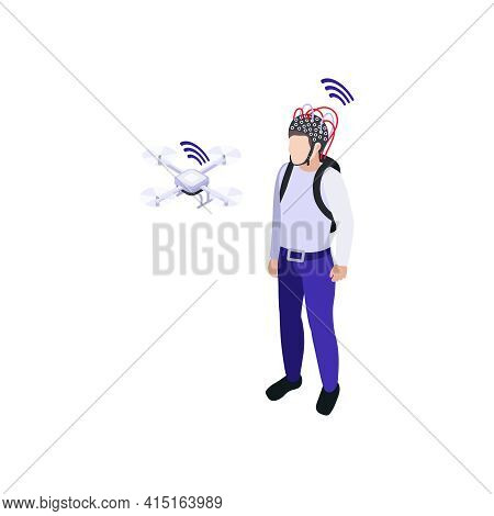 Nanotechnology Icon Man With Eeg Test Electrodes Controlling Drone 3d Isometric Vector Illustration
