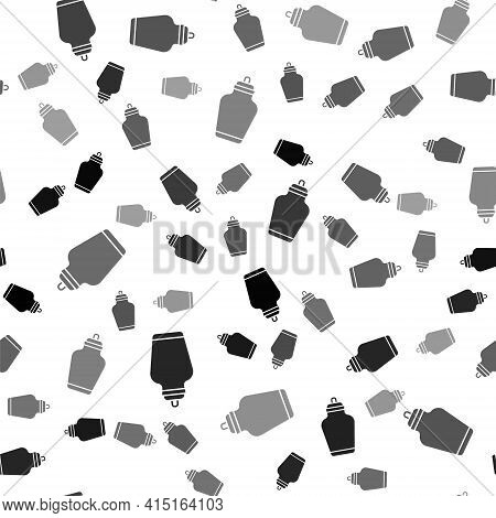 Black Funeral Urn Icon Isolated Seamless Pattern On White Background. Cremation And Burial Container