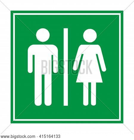 Male And Female Icon. Gender Sign. Toilet Symbol. White Male And Female Icon, Vector Illustration.
