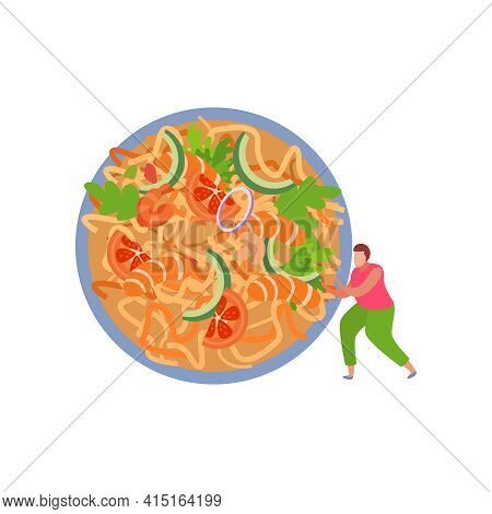 Human Character And Served Noodles With Vegetables And Prawns Flat Vector Illustration