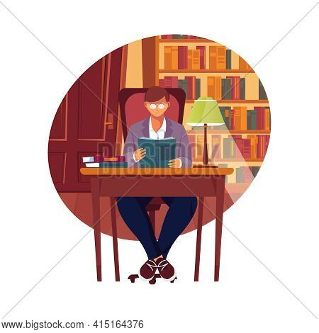 Self Education Composition With Man Studying In Library Flat Vector Illustration