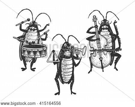 Cartoon Cockroach Orchestra Playing The Trumpet Double Bass Drum Sketch Engraving Vector Illustratio