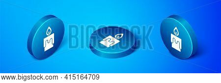 Isometric Burning Candle Icon Isolated On Blue Background. Cylindrical Candle Stick With Burning Fla