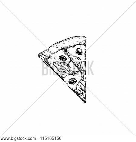 Pizza Pizza Fiori Di Zucca Piece. Top View. Hand Drawn Sketch Style Pizza With Zucchini Flowers Draw