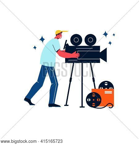 Flat Character Of Cameraman And His Equipment On White Background Vector Illustration