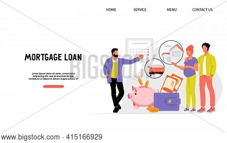 Mortgage Loan Website Banner With Bank Manager Explaining To Young Couple Monthly Payments Plan. Inv
