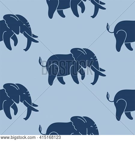 Dark Blue Elephants On A Blue Background Seamless Vector Pattern. A Repeating Pattern For Textiles,
