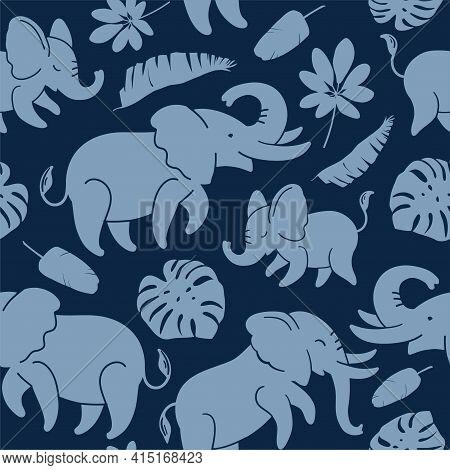 Blue Elephants On A Dark Blue Background Seamless