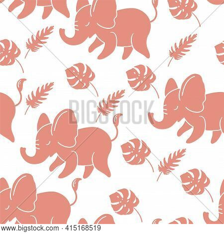 Seamless Pattern With Funny Pink Elephants And Tropical Leaves. Vector Pattern For Fabrics, Clothes,