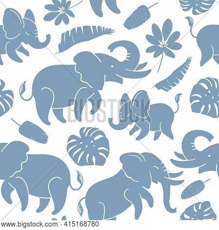 Blue Elephants On A White Background Seamless Texture