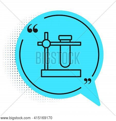 Black Line Glass Test Tube Flask On Stand Icon Isolated On White Background. Laboratory Equipment. B