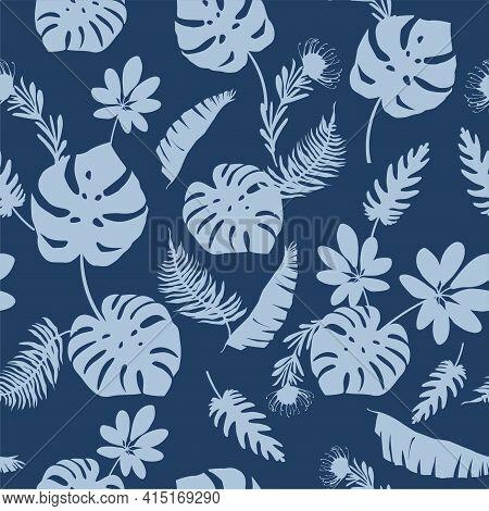 Blue Tropical Leaves, Plants, Flowers On Dark Blue Background Vector Seamless Pattern. Beautiful Pri