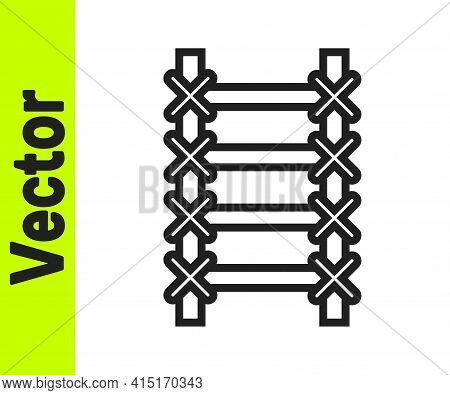 Black Line Fire Escape Icon Isolated On White Background. Pompier Ladder. Fireman Scaling Ladder Wit