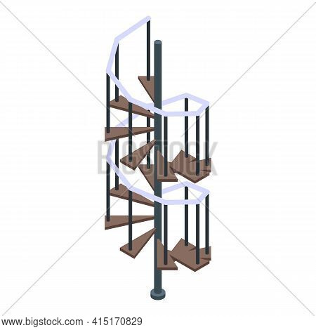 Interior Spiral Staircase Icon. Isometric Of Interior Spiral Staircase Vector Icon For Web Design Is