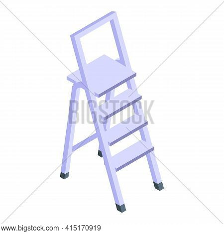 Indoor Metal Ladder Icon. Isometric Of Indoor Metal Ladder Vector Icon For Web Design Isolated On Wh