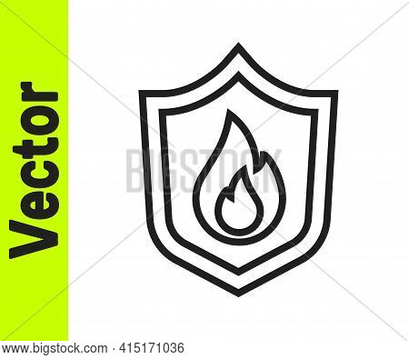 Black Line Fire Protection Shield Icon Isolated On White Background. Insurance Concept. Security, Sa