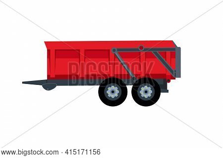 Flat Trailer On A White Background. Red Trailer Icon - Vector Illustration. Agricultural Farm Transp