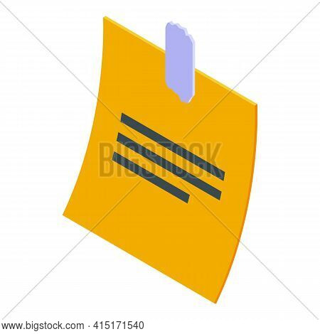 Memo Notepad Icon. Isometric Of Memo Notepad Vector Icon For Web Design Isolated On White Background