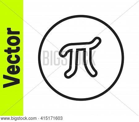 Black Line Pi Symbol Icon Isolated On White Background. Vector