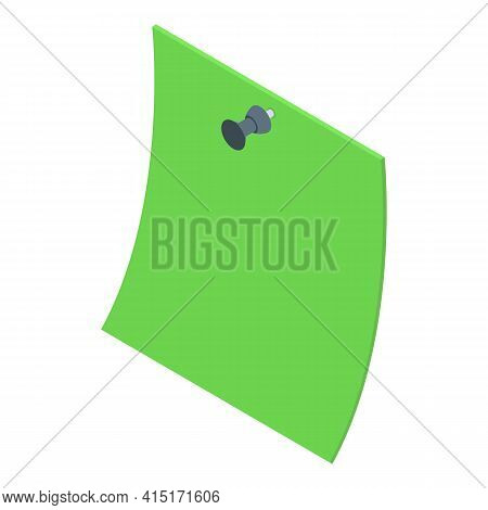 Green Memo Icon. Isometric Of Green Memo Vector Icon For Web Design Isolated On White Background