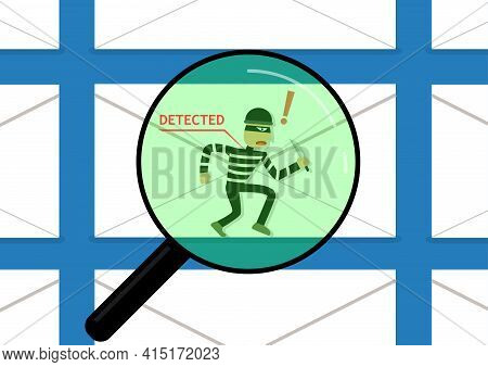 Detected Malware In Phishing Mail, Vector Art