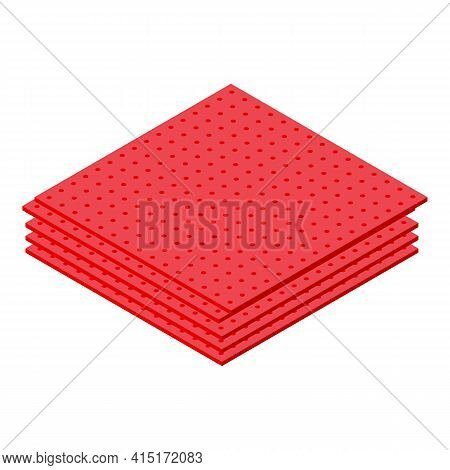 Red Napkins Icon. Isometric Of Red Napkins Vector Icon For Web Design Isolated On White Background