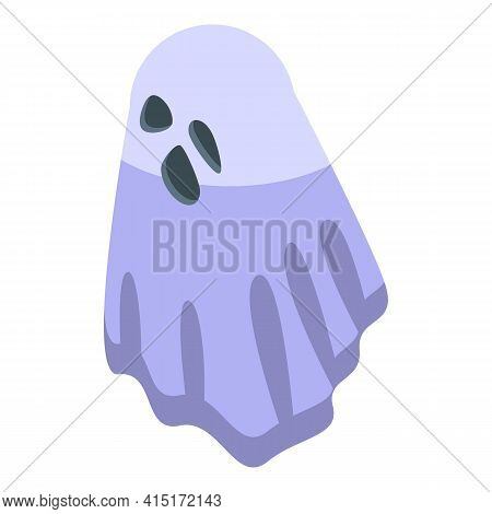 Scary Ghost Icon. Isometric Of Scary Ghost Vector Icon For Web Design Isolated On White Background