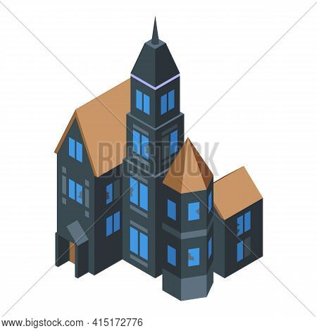 Old Creepy House Icon. Isometric Of Old Creepy House Vector Icon For Web Design Isolated On White Ba