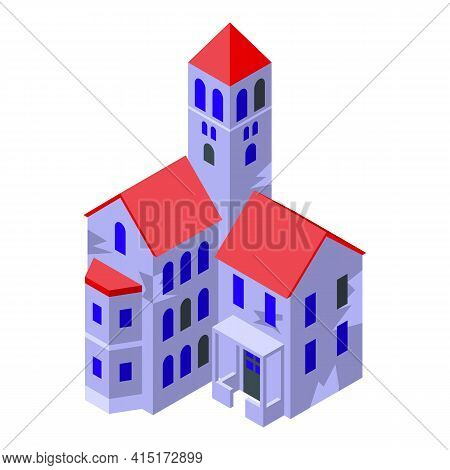 Night Creepy House Icon. Isometric Of Night Creepy House Vector Icon For Web Design Isolated On Whit