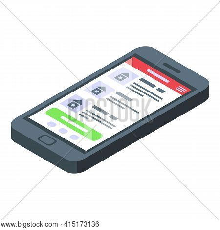 Rental Smartphone Icon. Isometric Of Rental Smartphone Vector Icon For Web Design Isolated On White