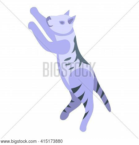 Playful Jump Cat Icon. Isometric Of Playful Jump Cat Vector Icon For Web Design Isolated On White Ba