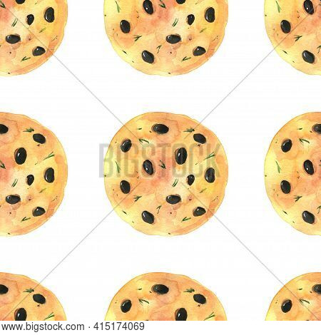 Watercolor Illustration. Hand Drawing. Seamless Pattern Of Bakery Products.