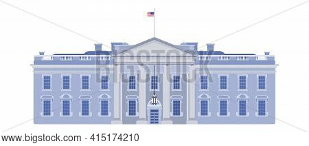 White House Front Entrance Beautiful Building Usa. Vector Flat Style