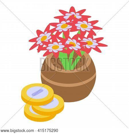 Thai Flowers Vase Icon. Isometric Of Thai Flowers Vase Vector Icon For Web Design Isolated On White