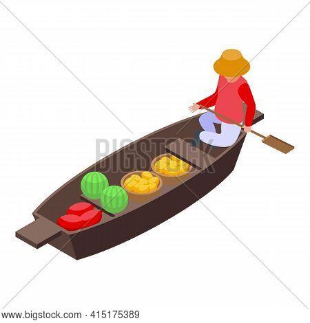 Fruits Floating Market Icon. Isometric Of Fruits Floating Market Vector Icon For Web Design Isolated