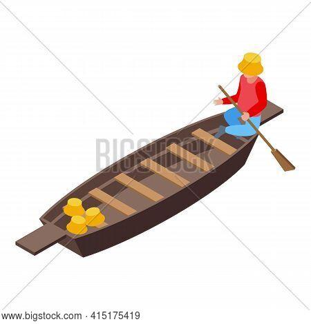 Empty Floating Market Icon. Isometric Of Empty Floating Market Vector Icon For Web Design Isolated O