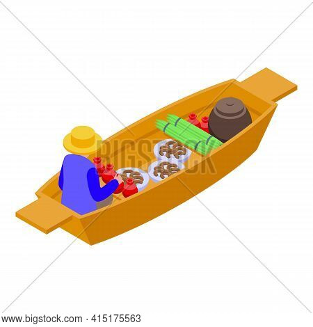 Food Floating Market Icon. Isometric Of Food Floating Market Vector Icon For Web Design Isolated On