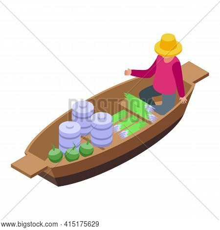 Local Floating Market Icon. Isometric Of Local Floating Market Vector Icon For Web Design Isolated O