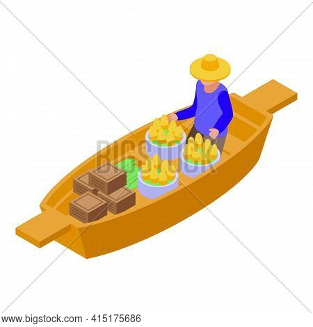 Culture Floating Market Icon. Isometric Of Culture Floating Market Vector Icon For Web Design Isolat