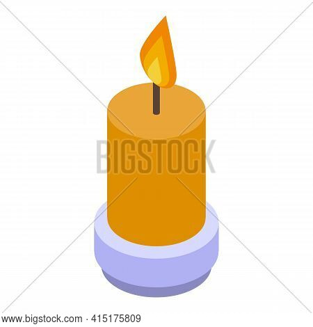 Burning Candle Icon. Isometric Of Burning Candle Vector Icon For Web Design Isolated On White Backgr