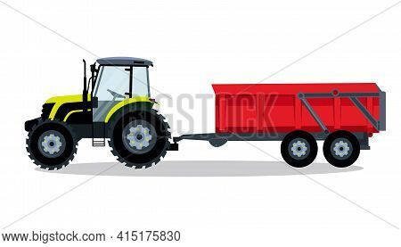 Flat Tractor With Trailer On A White Background. Light Green Tractor Icon - Vector Illustration. Agr