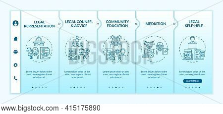 Legal Services Categories Onboarding Vector Template. Responsive Mobile Website With Icons. Web Page