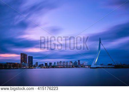 View of Erasmus Bridge Erasmusbrug and Rotterdam skyline. Rotterdam, Netherlands