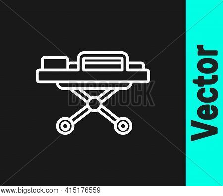 White Line Stretcher Icon Isolated On Black Background. Patient Hospital Medical Stretcher. Vector