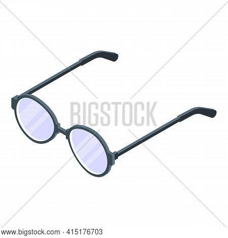 Newspaper Round Eyeglasses Icon. Isometric Of Newspaper Round Eyeglasses Vector Icon For Web Design