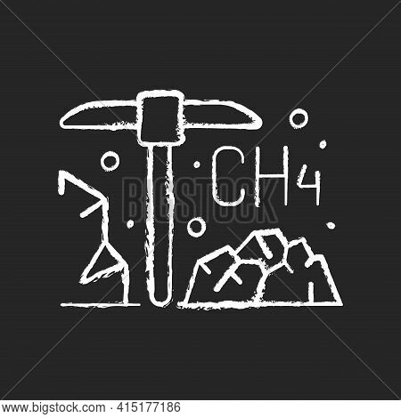 Coal Mining Chalk White Icon On Black Background. Methane Emissions From Coal Mines Could Do Damage