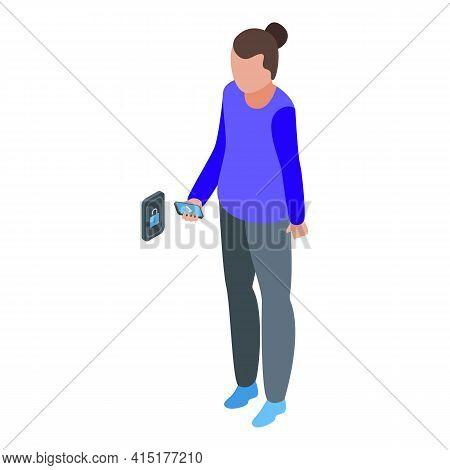 Smartphone Unlock Door Icon. Isometric Of Smartphone Unlock Door Vector Icon For Web Design Isolated