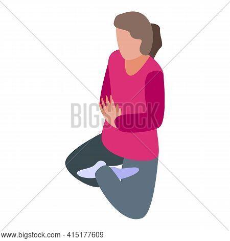 Pilates Meditation Pose Icon. Isometric Of Pilates Meditation Pose Vector Icon For Web Design Isolat