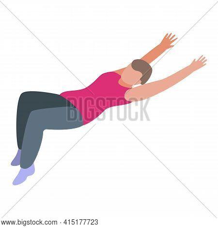 Pilates Back Exercise Icon. Isometric Of Pilates Back Exercise Vector Icon For Web Design Isolated O