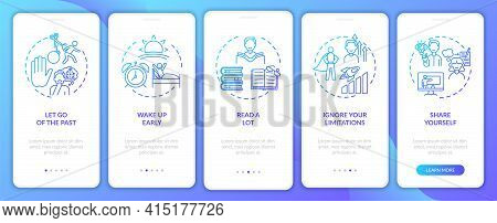 Self-development Tips Navy Onboarding Mobile App Page Screen With Concepts. Improving Yourself Walkt